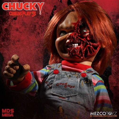 Child´s Play 3 Designer Series Talking Pizza Face Chucky 38 cm Mezco - 2