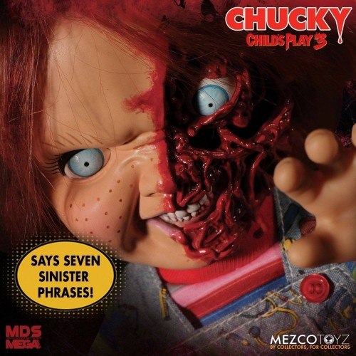 Child´s Play 3 Designer Series Talking Pizza Face Chucky 38 cm Mezco - 3