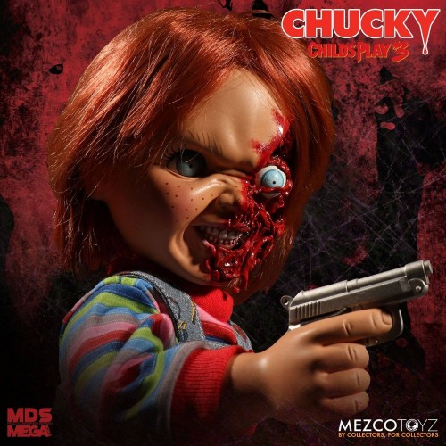 Child´s Play 3 Designer Series Talking Pizza Face Chucky 38 cm Mezco - 4