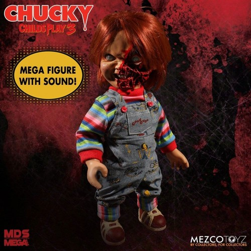 Child´s Play 3 Designer Series Talking Pizza Face Chucky 38 cm Mezco - 5