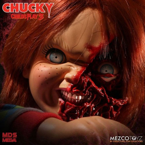 Child´s Play 3 Designer Series Talking Pizza Face Chucky 38 cm Mezco - 6