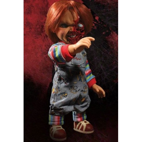 Child´s Play 3 Designer Series Talking Pizza Face Chucky 38 cm Mezco - 7